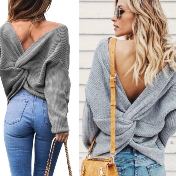 744e4b47247d17 Gray V Neck Twisted Knot Back Sweater  360